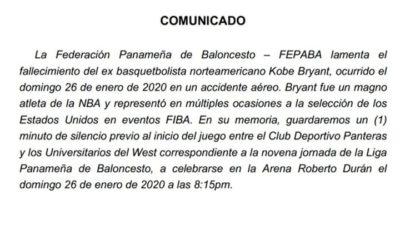 Minuto de Silencio por fallecimiento de Kobe Bryant en la LPB