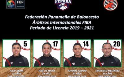 Panamá contará con cuatro Árbitros Internacionales FIBA 2019 – 2021